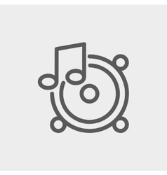 Music Tambourine thin line icon vector image