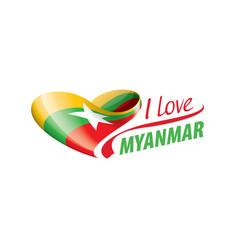 National flag myanmar in shape a vector