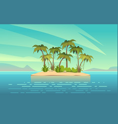 ocean island cartoon tropical island with palm vector image