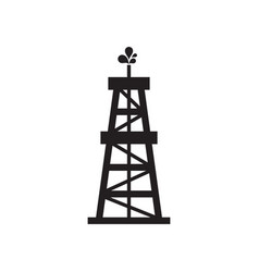 oil rig - black icon on white background vector image
