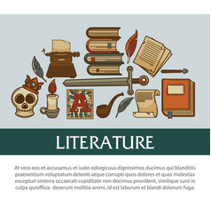 Old books and ancient relics literature manuscript vector