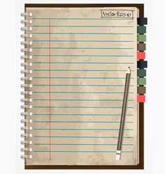 Old paper notebook vector