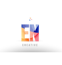 Orange blue alphabet letter en e n logo icon vector