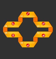 orange ribbon infographic template vector image