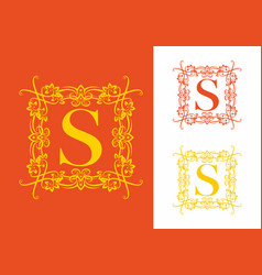 orange yellow s initial letter in vintage vector image