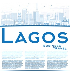 Outline Lagos Skyline with Blue Buildings vector image vector image