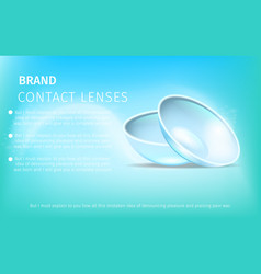 Pair of contact eye lenses on gradient background vector