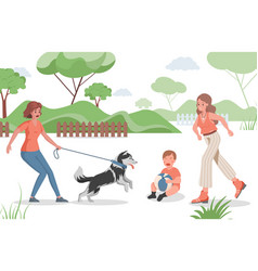 People spend time outdoor in urban park vector