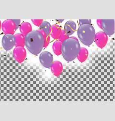 pink balloons confetti and vector image