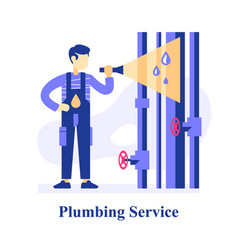 Plumber inspecting pipes finding problem vector