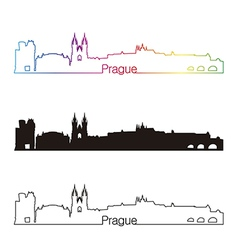 prague skyline linear style with rainbow vector image