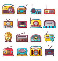 radio music old device icons set cartoon style vector image