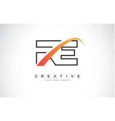 Re r e swoosh letter logo design with modern vector