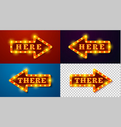 realistic glowing arrow signs with lamps vector image
