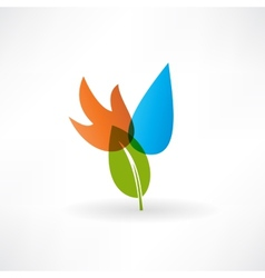 Red fire drop and green leaf icon vector
