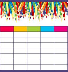 School timetable with multicolored pencils vector