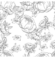 Seamless black and white floral pattern vector image