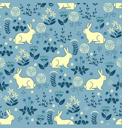 seamless pattern with bunny forest vector image