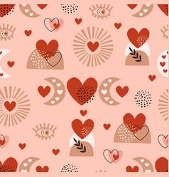 seamless pattern with love boho sun eye moon vector image