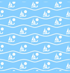 Seamless pattern with suns and boats ongoing vector