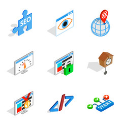 Server installation icons set isometric style vector