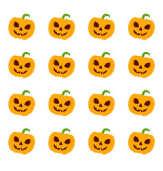 Set halloween pumpkins funny faces autumn vector