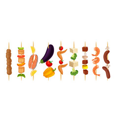 Set kebabs on a wooden skewer vector