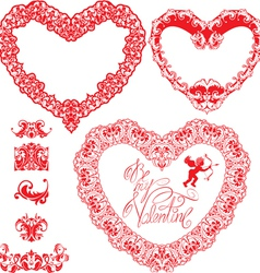 Set of vintage ornamental hearts shapes with calli vector image