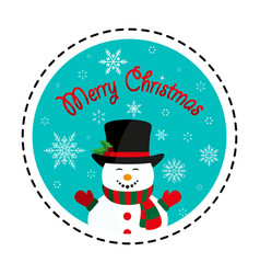 snowman in black hat merry christmas vector image