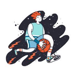 sportsman dribbling playing basketball cartoon vector image