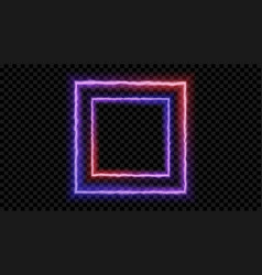 square purple and red neon light on a transparent vector image