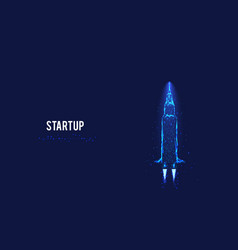 Startup concept flying rocket from triangles and vector