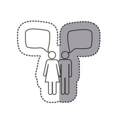Sticker silhouette pictogram couple with square vector