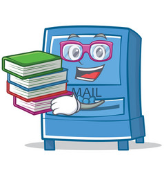 Student with book mailbox character cartoon style vector