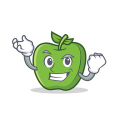 successful green apple character cartoon vector image