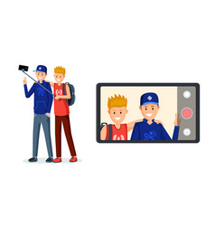 Teenagers recording video message vector