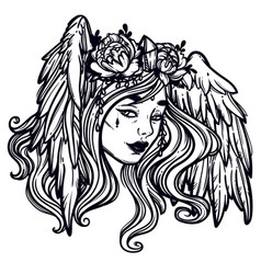 the head of a girl with wings flying head a vector image