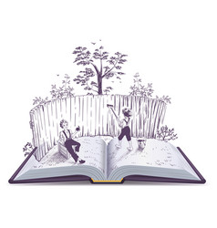 Tom sawyer paints fence open book vector