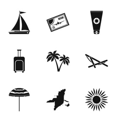 Tourism in Miami icons set simple style vector