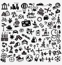 Travel doodle set vector