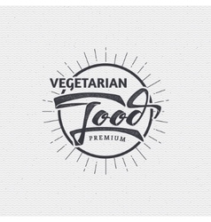 Vegetarian food - labels stickers hand lettering vector
