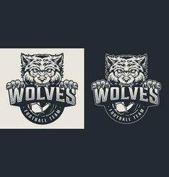 Vintage football team monochrome logo vector