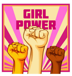 Vintage style girl power poster raised fist vector