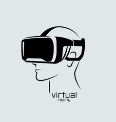 virtual reality logo flat design icon black vector image
