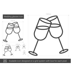 Wedding glasses line icon vector