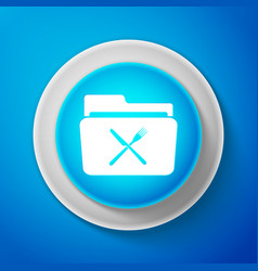 white crossed fork and knife over folder icon vector image