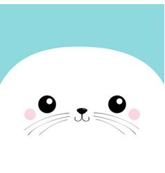 White sea lion head face square icon harp seal vector