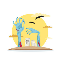 zombies hands in graveyard icon vector image