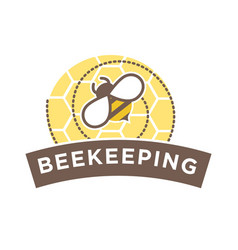 beekeeping logo design with abstract bee on vector image vector image