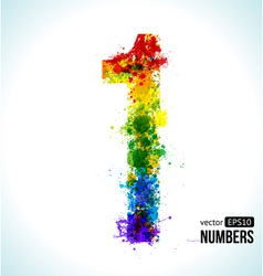 Color paint splashes Gradient Number 1 vector image vector image